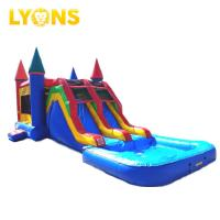 Wholesale Cheap price inflatable bouncy castle blue red combo slide pool 7*4*4m for sale from china suppliers