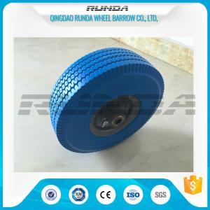 China Heavy Duty PU Foam Wheel 3.50-4 , Puncture Proof PU Trolley Wheels Steel Rim on sale