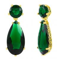 Wholesale Prong Setting Diamond Stylish Earrings Green Stone Tear Earrings from china suppliers