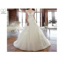 Wholesale Sleeveless Long Tail Bridal Gown , Ivory Lace Wedding Dress Back Bandage Style from china suppliers