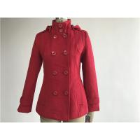 China Professional Ladies Wool Coat Red Color With Detachable Hood TW56073 on sale
