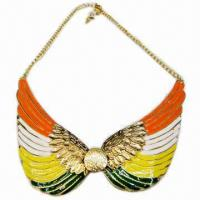 Wholesale Fashionable Necklace, Wing-shaped Design, Decorated with Multicolor Enamel from china suppliers