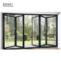 Quality Triple Glass Black Aluminium Bi Folding Doors / Aluminium Fold Up Doors 5mm for sale