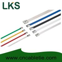 Wholesale 4.6*150mm 316/304/201 grade Ball-lock Epoxy-polyester coated stainless steel cable tie from china suppliers
