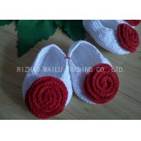 Quality Red Rose Free Crochet Baby Shoes Comfortable White Body 100% Milk Cotton for sale