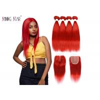 China Red Brazilian Straight Hair Bundles With Closure Colored 99J Burgundy Bundles Human Hair Weave Thickweft on sale