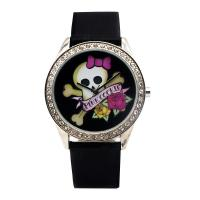 Wholesale Fashion lovely skeleton image dial good quality  leather strap shining stone bezel watches from china suppliers