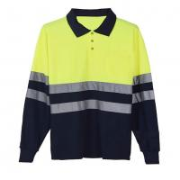 Wholesale Long sleeve Reflective Safety Hi Vis Polo Shirt OEM breathable quick dry work wear unisex heat sublimation printed from china suppliers