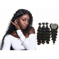 Wholesale Double Sewed Weft 8A Virgin Brazilian Hair Extensions Deep Wave With Frontal from china suppliers
