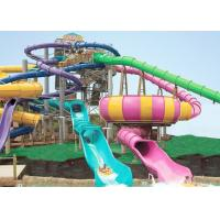 Wholesale Giant Swimming Pool Water Slides , FRP Outdoor Pool Slide 14.6m Platform For Adults from china suppliers