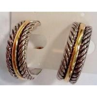 Buy cheap (E-56)Women's Jewelry Two Tone Silver Plated Hoop Earrings from wholesalers