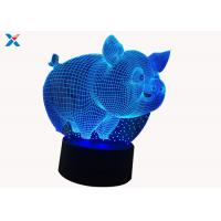Wholesale Customized Acrylic Light Guide Panel 7 Colors Change Cartoon 3D Pig Shape LED Night Light from china suppliers