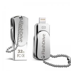 China Lighting OTG Phone USB Flash Drive , iPhone Swivel Metal 32GB USB Memory Stick on sale
