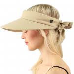 Wholesale UPF UV Sun Protection Visor Hat Wide Big Brim Linen Cotton Beach Pool Visor Cap from china suppliers