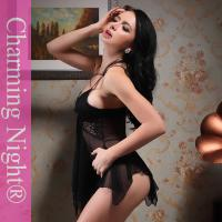 Wholesale Black Nylon Black Sexy honeymoon babydoll short night dress With Bras from china suppliers