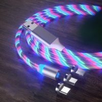 Buy cheap 3 In 1 Usb Charging Cable For 8PIN Micro Type C 1 meter 5V 2.4A Led Magnetic from wholesalers