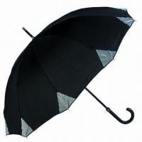 Buy cheap 60cm x 10K Stick Golf Umbrella with Reflective Corners, Made of Pongee, Wind-proof Function from wholesalers