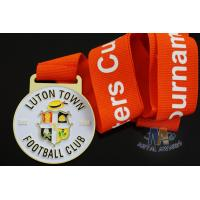 Buy cheap Custom Metal Zinc Alloy Football Medals Soft Enamel with Europe Printing Ribbon from wholesalers