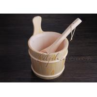 Buy cheap Lacquered foot bath wood bucket With Ladle For Turkish Sauna Bath Enjoyment from Wholesalers