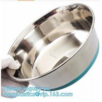 Wholesale Premium Colorful Dog Water Food Bowl, Dog Food Bowls Pet Feeder Bowls with Mat, Bamboo fiber durable dog feeding covered from china suppliers