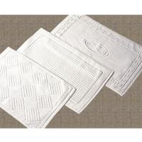 White Color 100 Cotton Plain Boarder Bath Mat 50 80cm