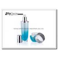 Wholesale PMMA Gradient Blue Empty Makeup Containers For Lotion with Lid Bright Silver Plating from china suppliers
