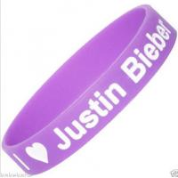 Sports Pink Silicone Wristband Bracelet With JUSTIN For Boys Grils 180*12*2CM for sale