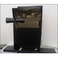 China Cross Shaped Rectangular Polished Shanxi Black Granite Tombstone for sale
