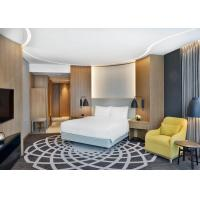Luxury 4 Star Hotel Bedroom Furniture King / Queen Size Bed With Veneer PU Leather Wall Panel for sale