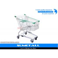 China Strong Structure Supermarket Shopping Trolley With Green Plastic Baby Seat on sale