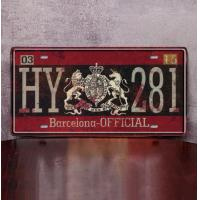 HY 281 Barcelona OFFICIAL Decorative Houses Coffee Shops Stores Restaurants Wall Hanging Metal Plate Plaque for sale