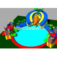 Mobile Large Inflatable Water Park With Swimming Pool 25M Dinosaur