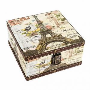 China Eiffel Tower Wood Jewelry Keepsake Storage Box Memory Sturdy Boxes Decorative Boxes For Girls Kids on sale