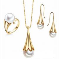 Wholesale White Pearl Fashion Ladies Jewelry Sets Gold Plated Jewelry Sets from china suppliers