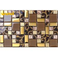 Wholesale Glitter KTV Golden Glass Mosaic Wall Tile , Glass Mosaic Backsplash Tiles from china suppliers