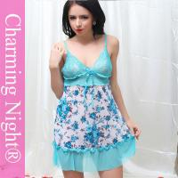 Wholesale Charming Night Sexy Nylon Lingerie Nightie Babydoll With Bra Support from china suppliers
