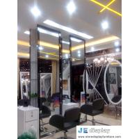 Wholesale Budget Chain salon store decoration in white furniture hairdressing styling mirror with wood stand and leather swirl cha from china suppliers
