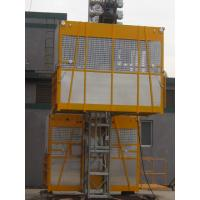 Twin Cage Yellow Construction Material Hoists for Building SC200 / 200 for sale