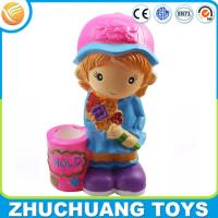 Wholesale colorful painting lovely girl with flowers plastic custom money coin bank from china suppliers