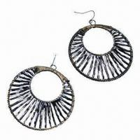 China Drop Earrings with Stylish Design, Made of Glass Tube Beads Material, Available in Various Colors on sale