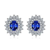 Wholesale Sparkly Diamonds 18k Gold Gemstone Earrings Sapphire Wedding Earrings from china suppliers