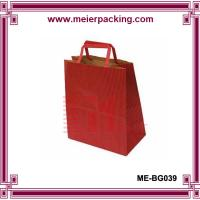Wholesale Red kraft paper shopping bag with flat paper handle ME-BG039 from china suppliers