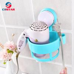 China Wall Mount Spring Style Hair Dryer Holder Rack Hair Drier Storage Organizer Hair Blower Holder on sale
