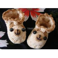 Quality Bear Shape Crochet Baby Shoes Brown Binding Winter Knitted Baby Booties for sale