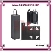 Wholesale Flip Top Matte Black Rigid Gift Boxes with handle, wine folding box ME-FD007 from china suppliers