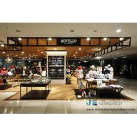 Wholesale Shopping Mall Clothing and Shoe store design by Wood display Koisk with shelves  in Wall and Black metal selling-counter from china suppliers
