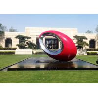 Wholesale Red Painted Metal Sculpture Oval Large Outdoor Sphere Modern Garden Art Sculptures from china suppliers