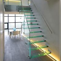 Wholesale Straight Mild Steel Glass Modern Floating Staircase / Prefab Steel Glass Stair Indoor from china suppliers