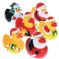 5.5cm Height Rubber Duck Christmas Decorations , Squeeze Floating Plastic Ducks