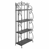 Wholesale Folding Black Metal Display Shelf / 4 Tier Storage Organizer Solid Structure from china suppliers